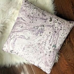 Marble Purple Silver Decorative Throw Pillow 20x20